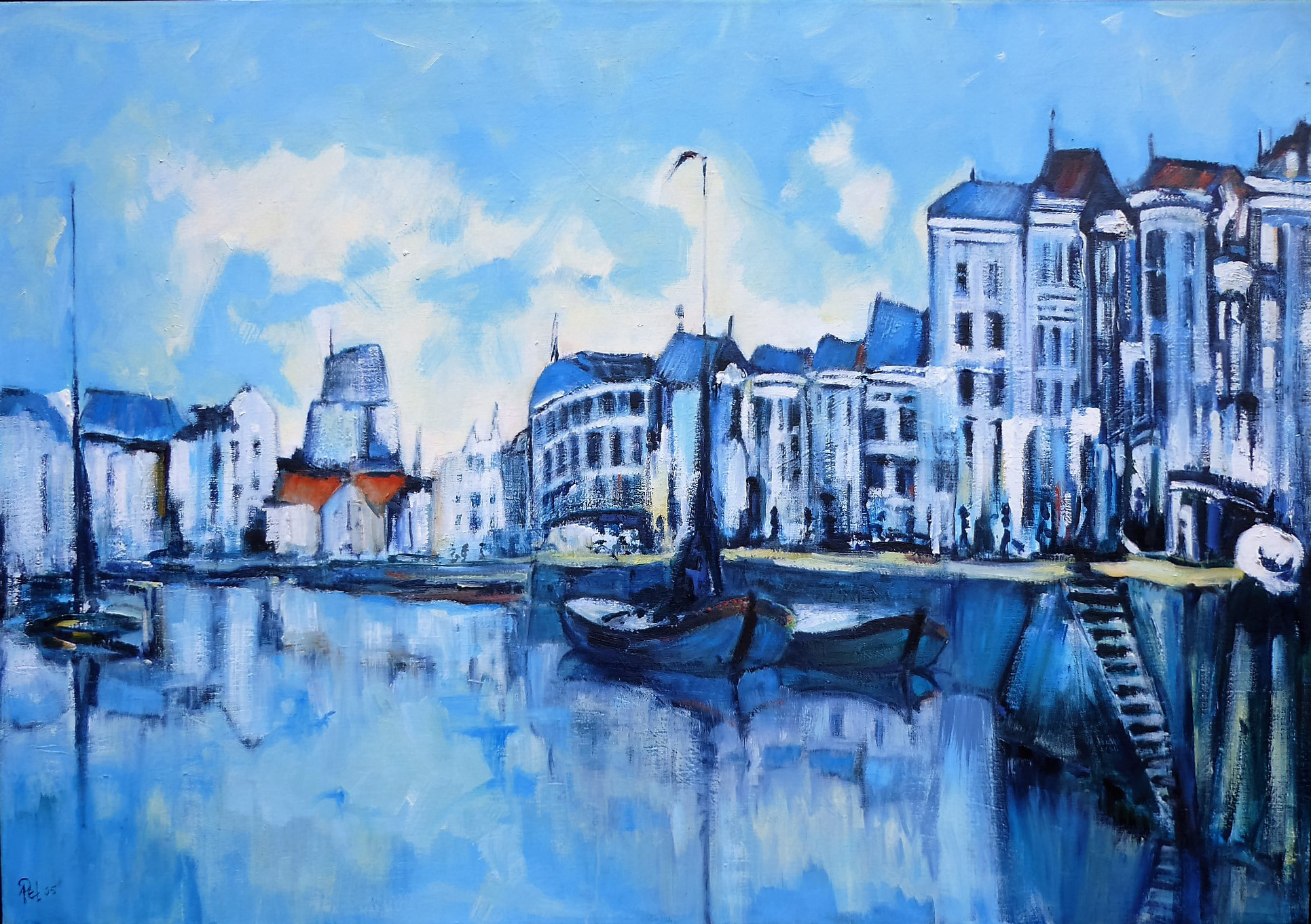 Ton Pet Blue Canal Street         Acryl op canvas     size  100 x 70 cm