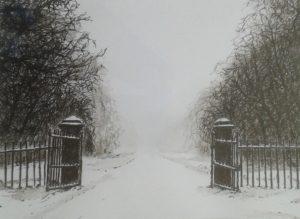 Slotlaan in de sneeuw